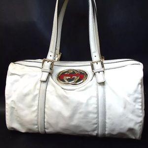 Authentic Gucci Satchel Britt GG Vinyl leather Bag